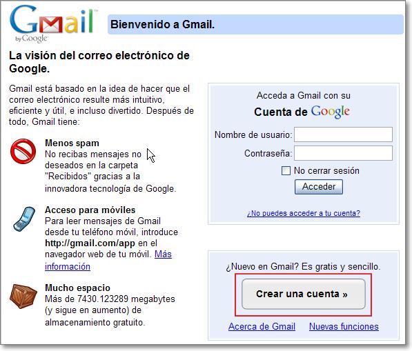 Cuenta gmail crear Crear una